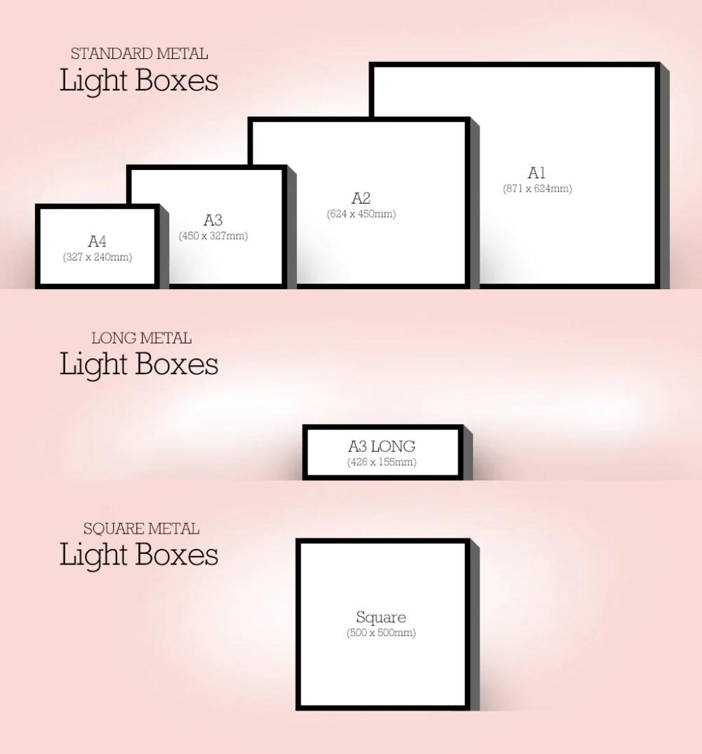 medium resolution of light box sizes