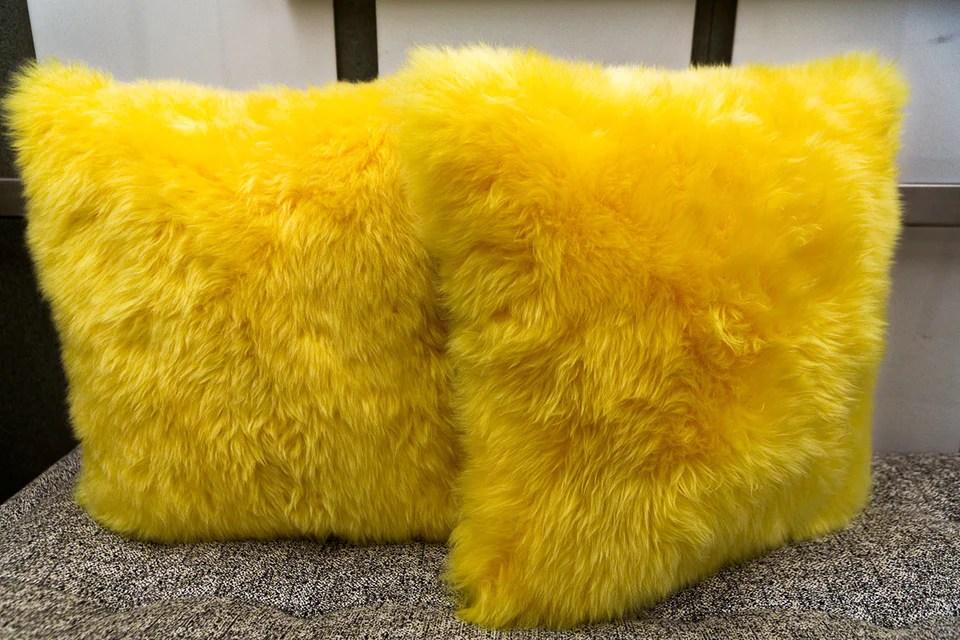 long wool yellow pillow 20 x 20 auskin luxe home philadelphia