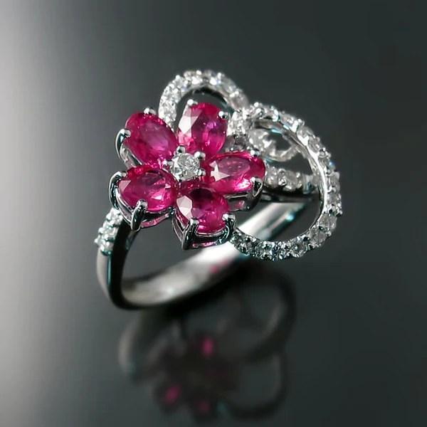 Ruby  Diamond Ring  Flower Design  Zoran Designs Jewelry