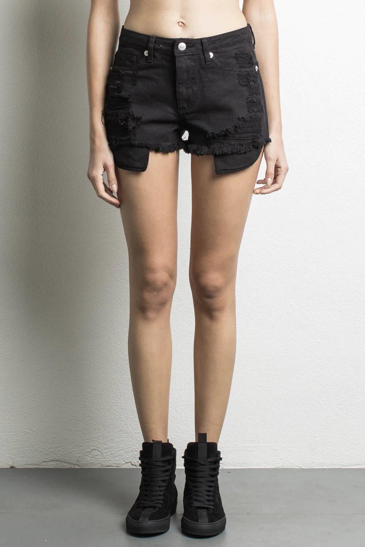 High Waisted Denim Shorts Black - Daniel Patrick Women'