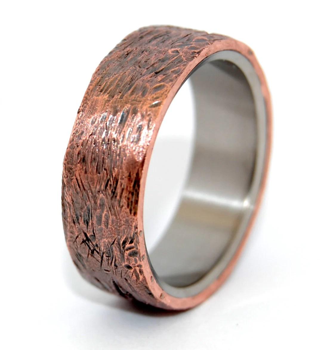 Minter  Richter  Unique Wedding Rings  Beaten Copper  Titanium Rings  Minter  Richter