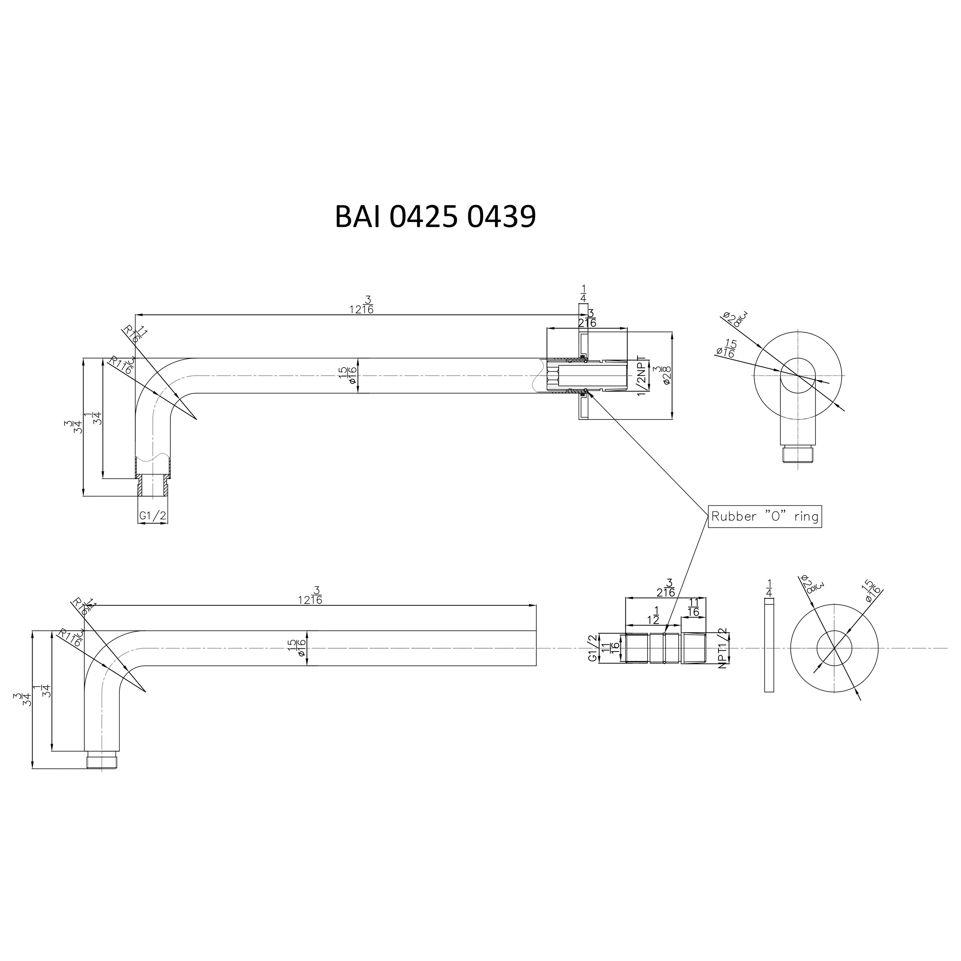 medium resolution of  bai 0439 wall mounted 12 inch shower head arm in brushed nickel finish