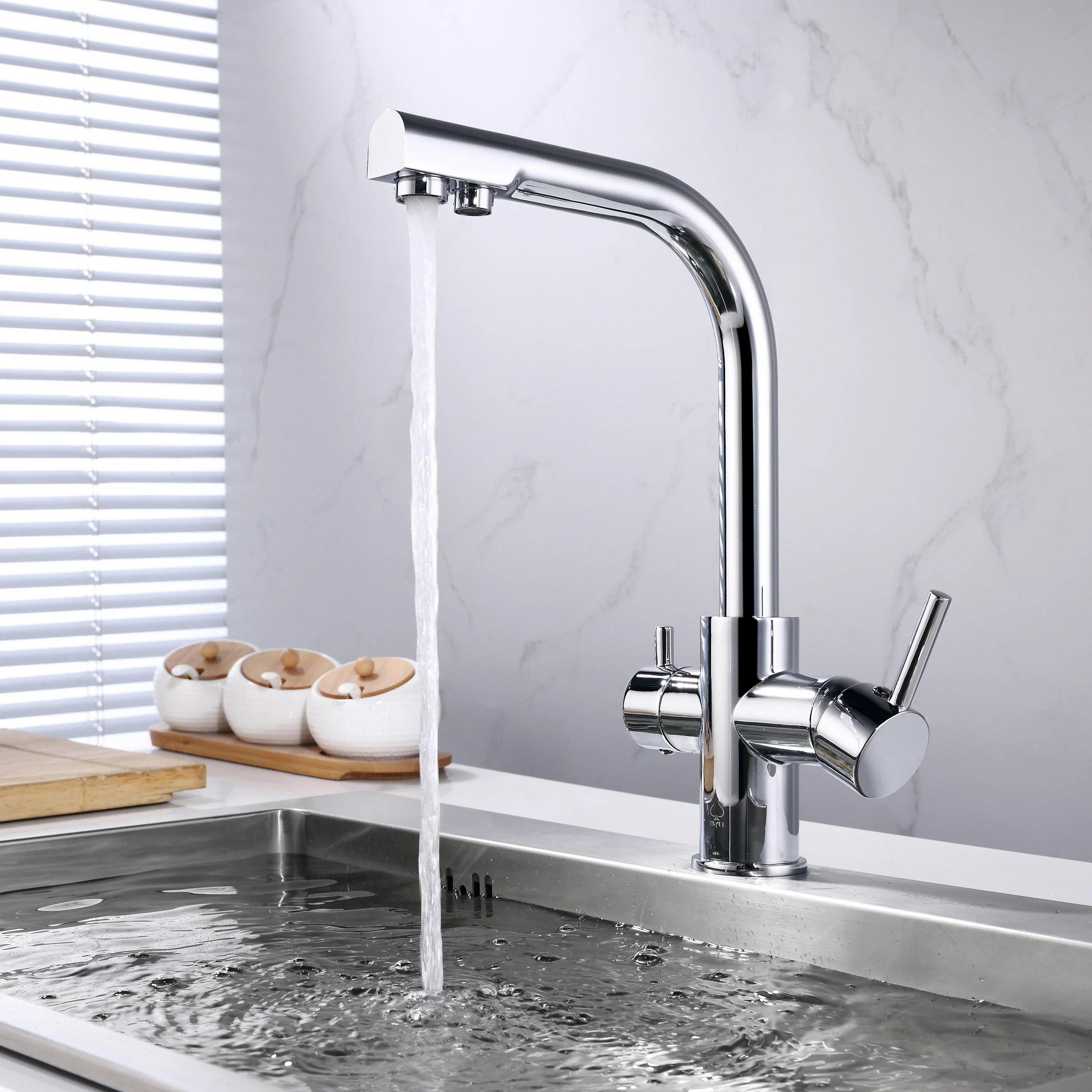 kitchen water faucet white eyelet curtains bai 0663 integrated drinking two in one polished chrome