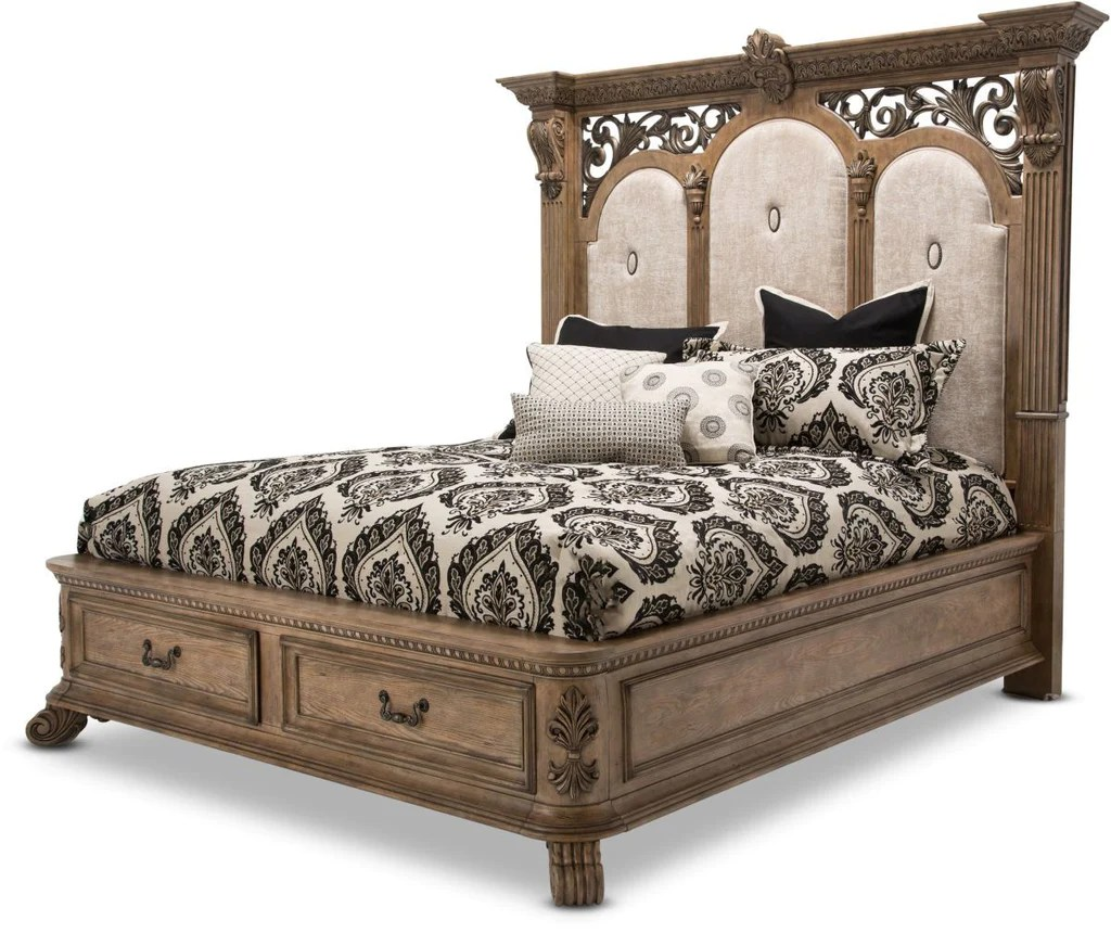 taylor king sofas sensational store hours aico villa de como bed w/ drawers in heritage finish ...