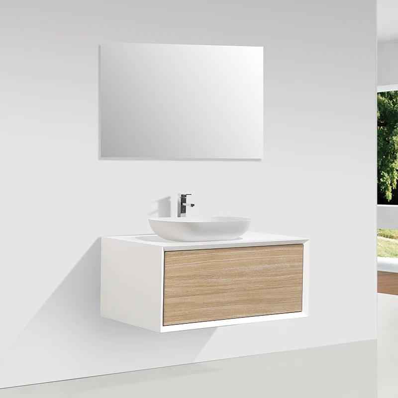 meuble salle de bain simple vasque palio 90 cm blanc chene clair