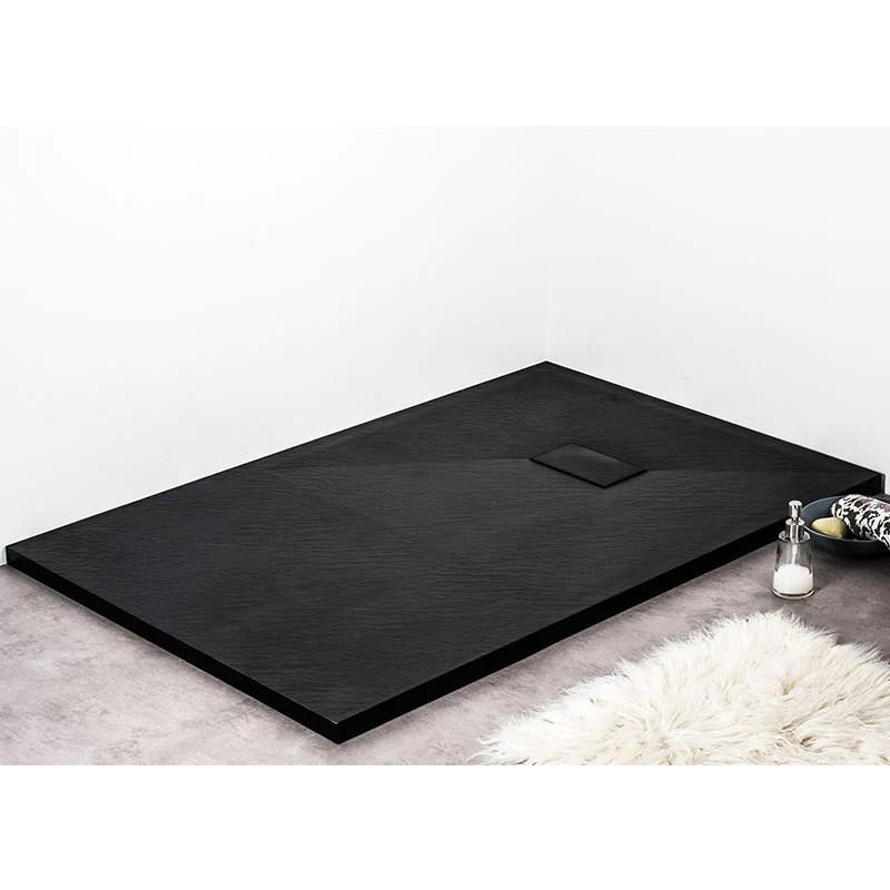 receveur de douche extra plat piatto en solicast surface ardoisee rectangulaire largeur 90cm noir