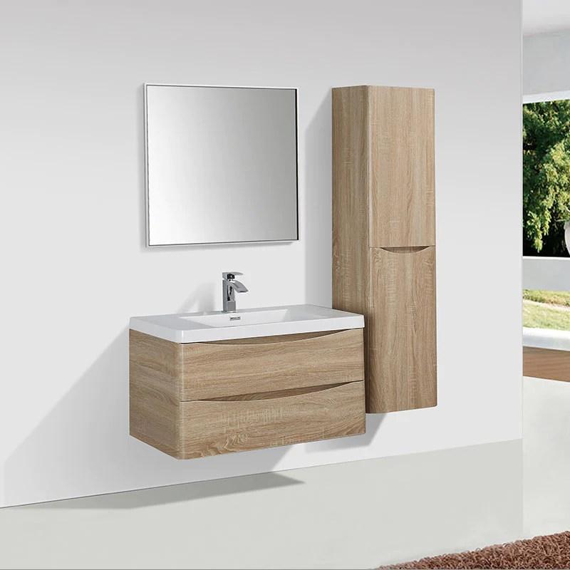 meuble salle de bain design simple vasque piacenza largeur 90 cm chene clair