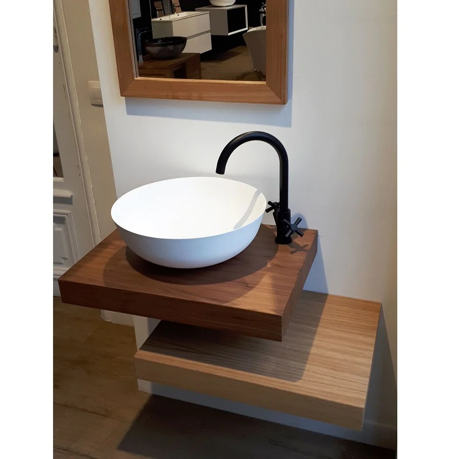 Plan Vasque Suspendu Zero Pour Salle De Bain Design Noyer Le Monde Du Bain