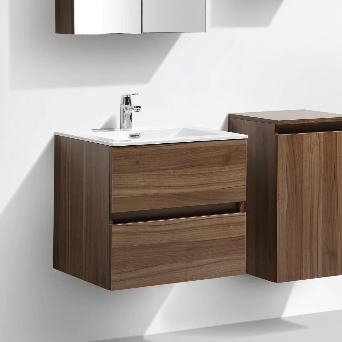 Meuble Salle De Bain Design Simple Vasque Siena Largeur 60 Cm Noyer Le Monde Du Bain