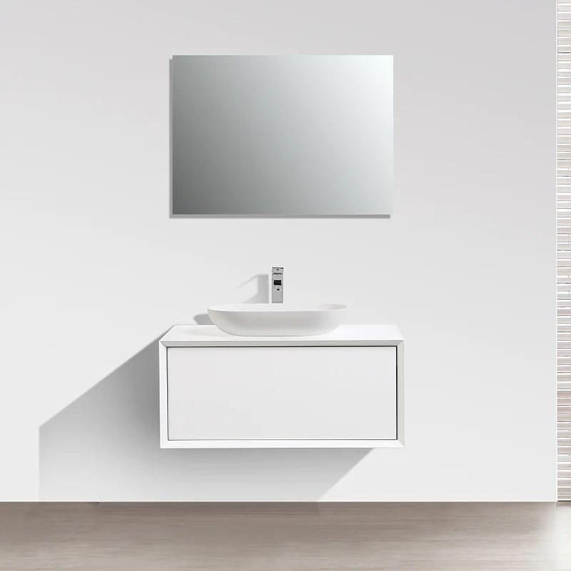 Meuble Salle De Bain Simple Vasque Palio 90 Cm Blanc Mat Le Monde Du Bain