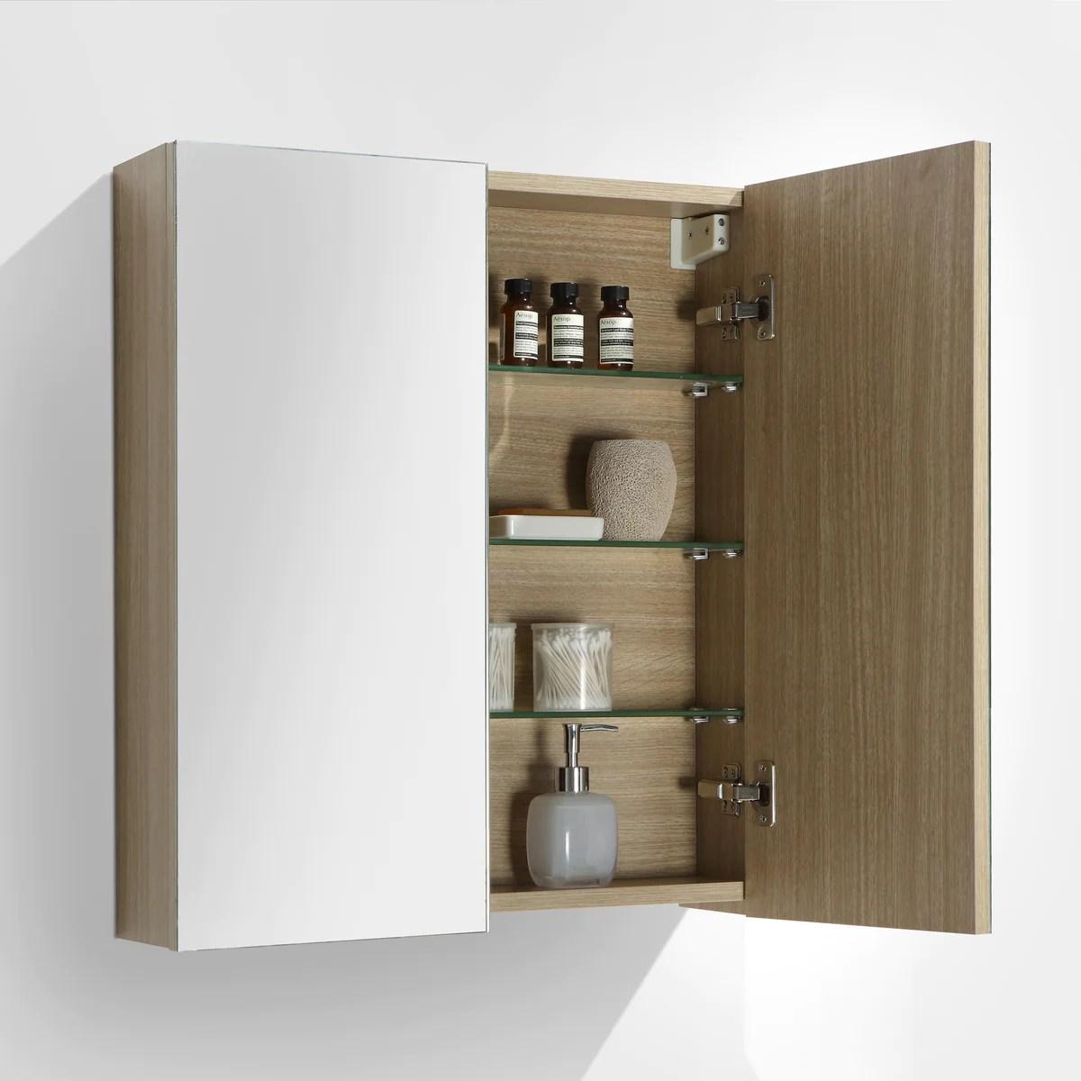 armoire de toilette bloc miroir siena largeur 60 cm chene clair texture