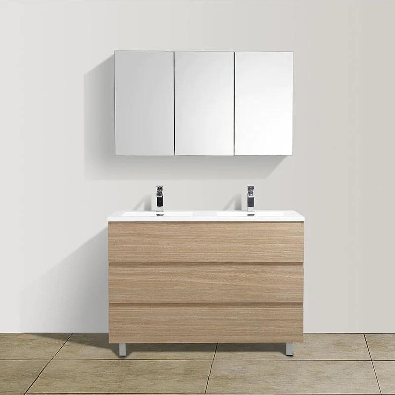 meuble salle de bain design double vasque verona largeur 120 cm chene clair texture