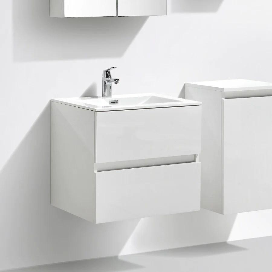 Meuble Salle De Bain Design Simple Vasque Siena Largeur 60 Cm Blanc L Le Monde Du Bain