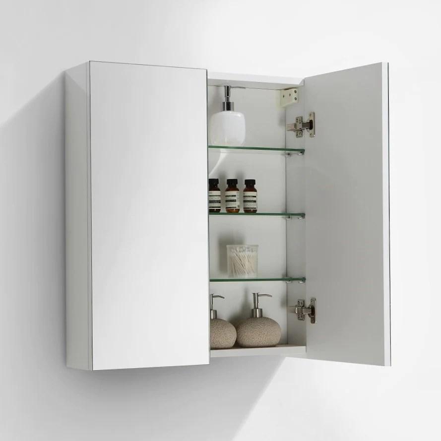 armoire de toilette bloc miroir siena largeur 60 cm blanc laque
