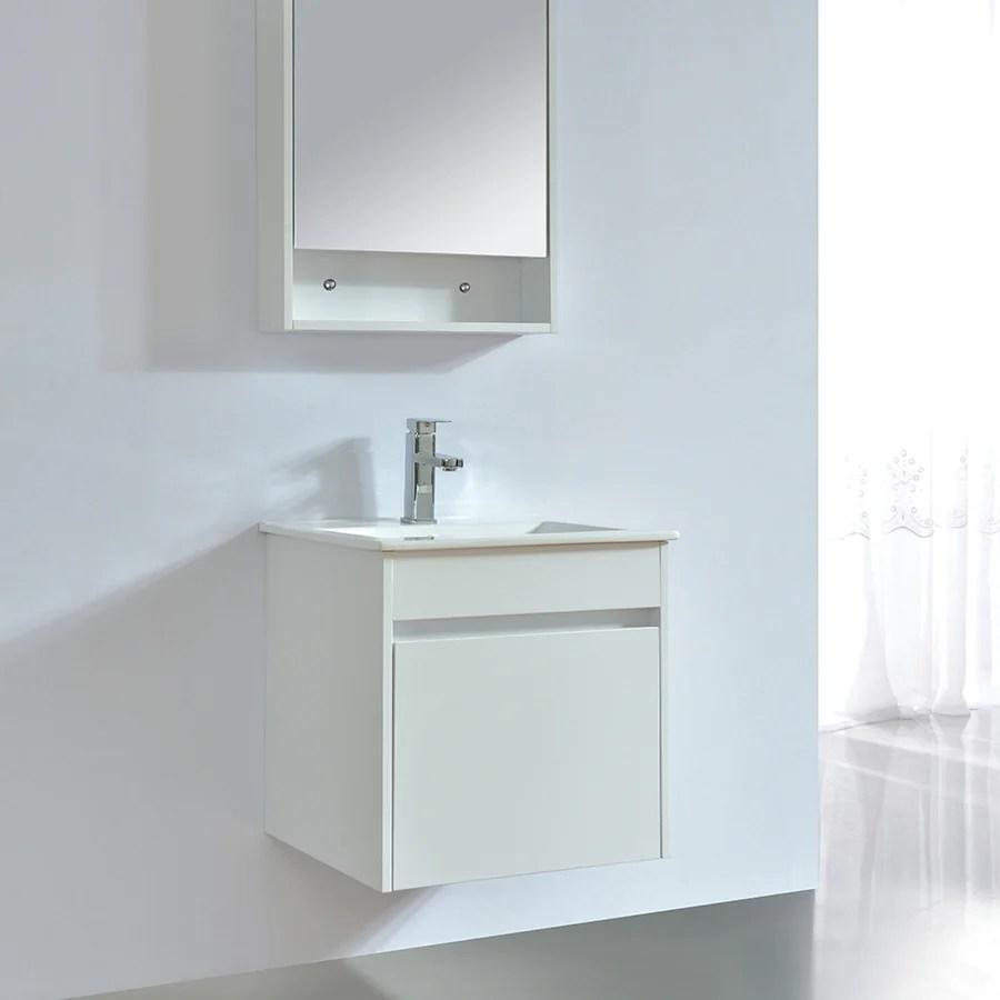 Meuble Salle De Bain Design 50 Cm Easy Finition Melamine Blanc Avec Va Le Monde Du Bain