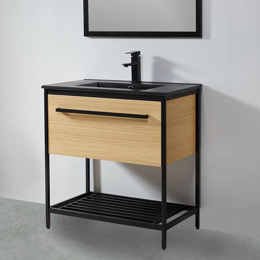 Meuble Salle De Bain Smart 80 Cm En Metal Noir Avec Vasque Ceramique N Le Monde Du Bain