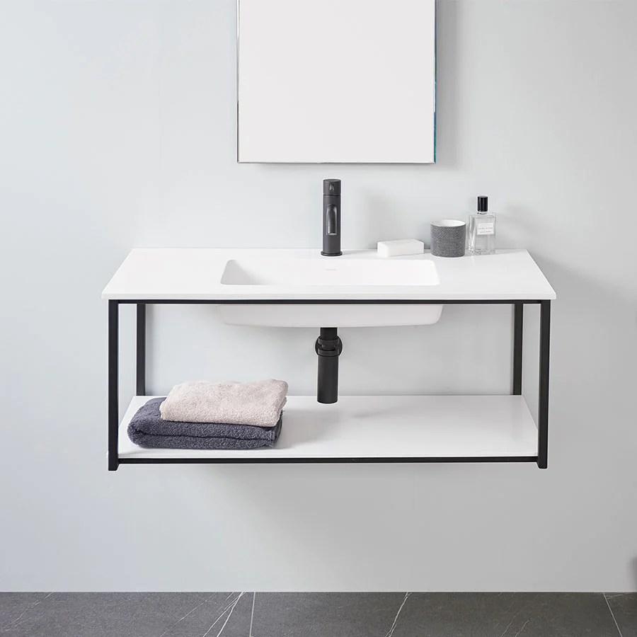 Meuble Salle De Bain Design Suspendu Uno Metal Avec Plan Vasque Noir Le Monde Du Bain