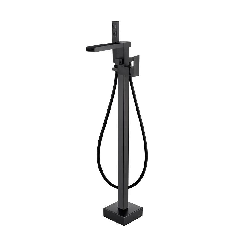 robinet mitigeur baignoire cascade tano sur pied noir mat