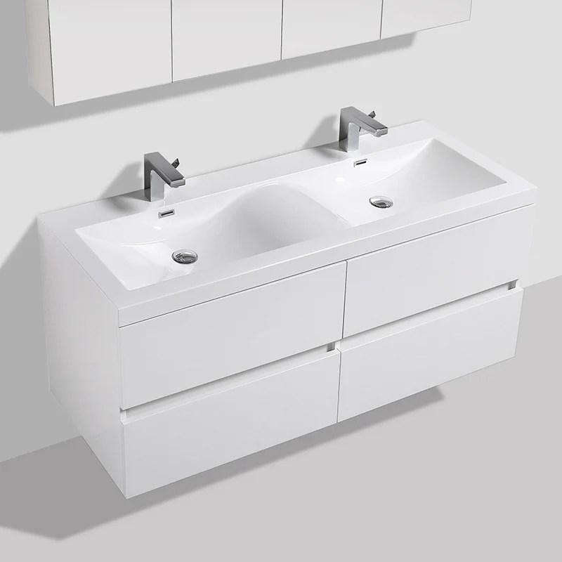 Meuble Salle De Bain Design Double Vasque Siena Largeur 144 Cm Blanc Le Monde Du Bain