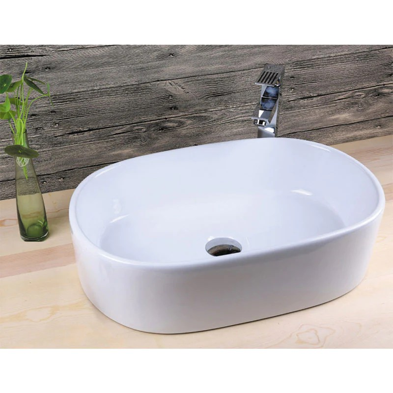 Vasque A Poser En Ceramique Verona Blanc 55 X 35 Cm Le Monde Du Bain