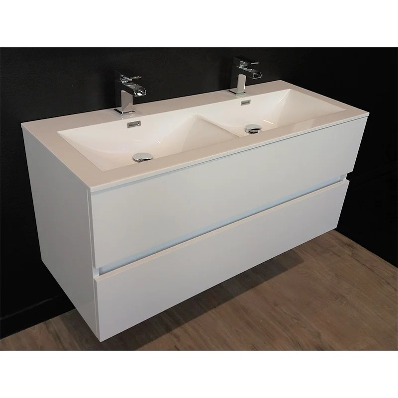 Meuble Salle De Bain Design Double Vasque Siena Largeur 120 Cm Blanc Le Monde Du Bain