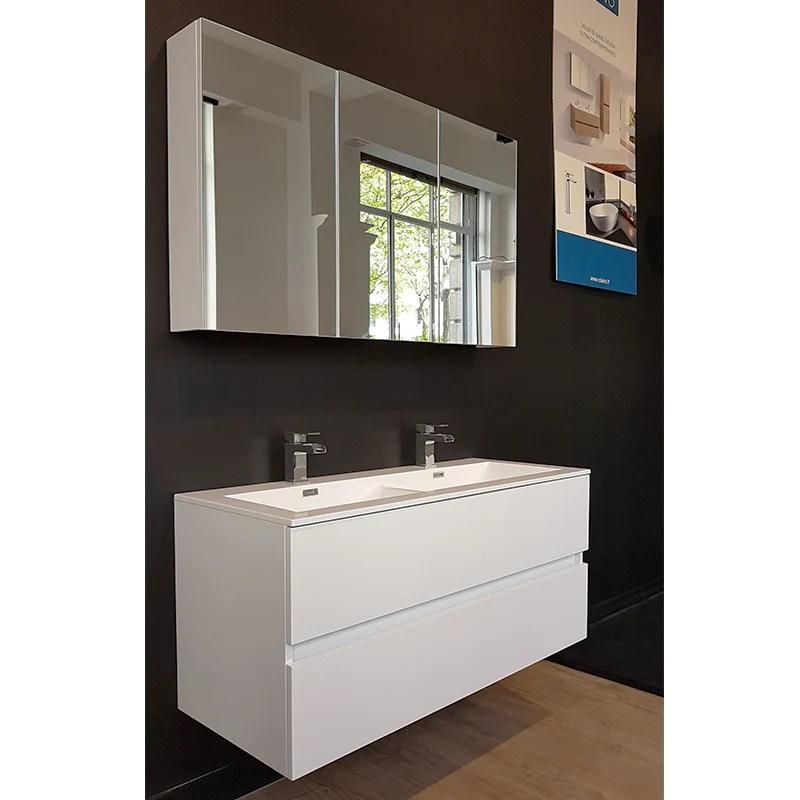 Armoire De Toilette Bloc Miroir Siena Largeur 120 Cm Blanc Laque Le Monde Du Bain