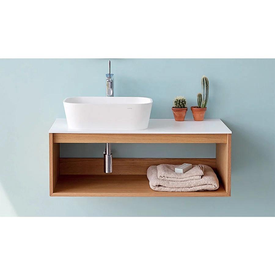 Meuble Salle De Bain Design Suspendu Uno Wood Pour Vasque A Poser Le Monde Du Bain