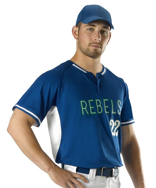 Alleson 2 Button Baseball Jersey  League Outfitters