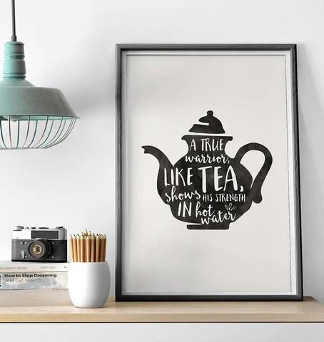 Warrior Tea Print by Baldy and the Fidget