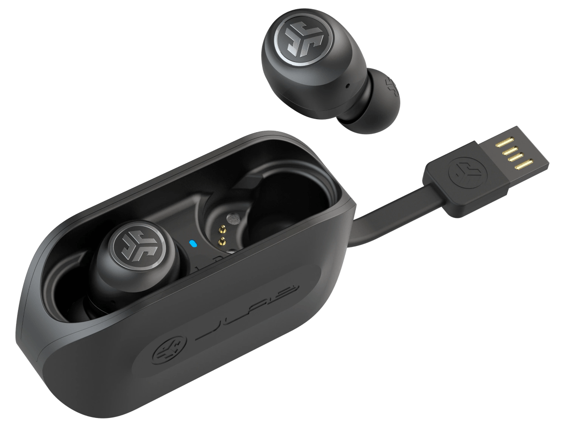 JBuds Air True Wireless Earbuds in charging case with integrated USB cable