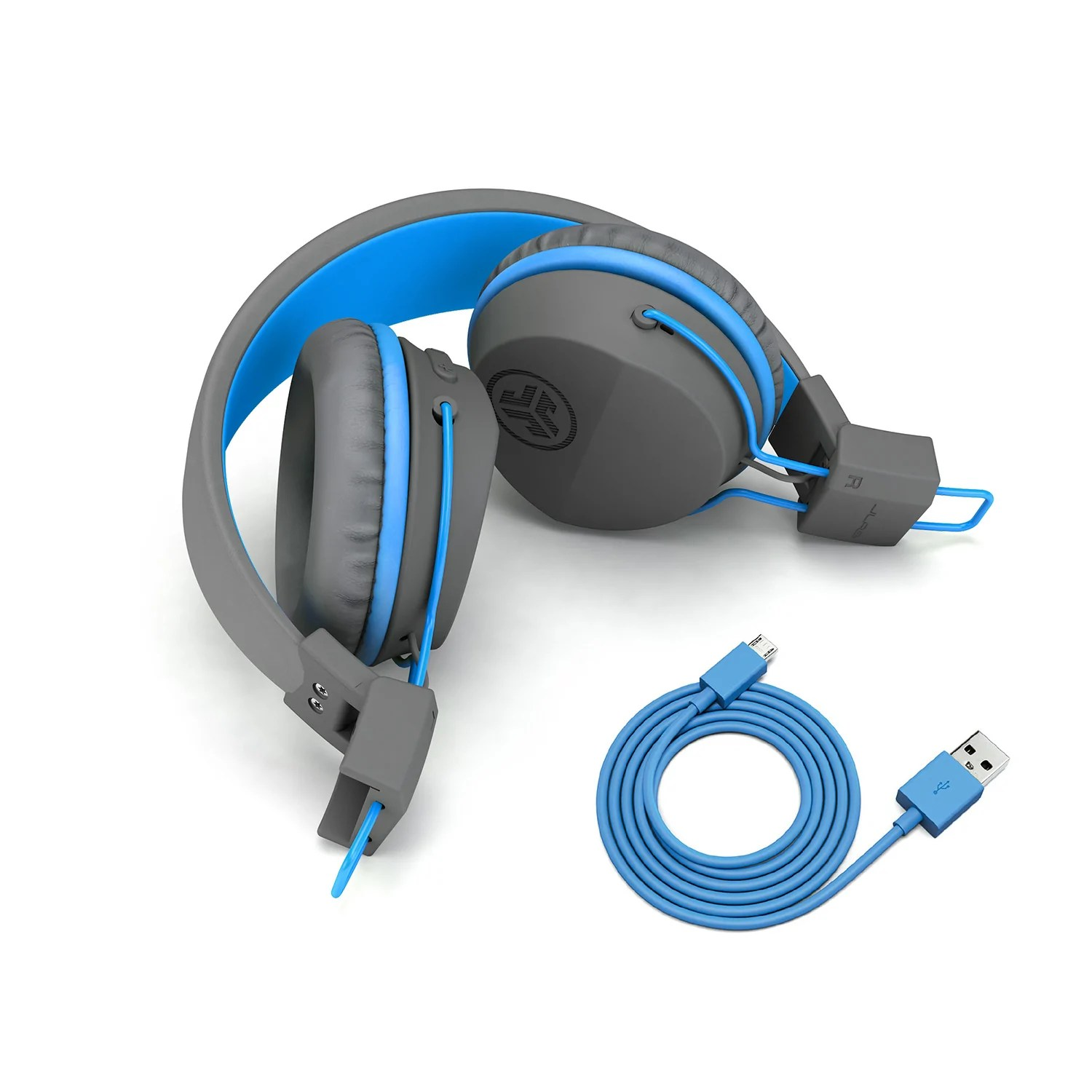 small resolution of neon bluetooth wireless on ear headphones folded in blue