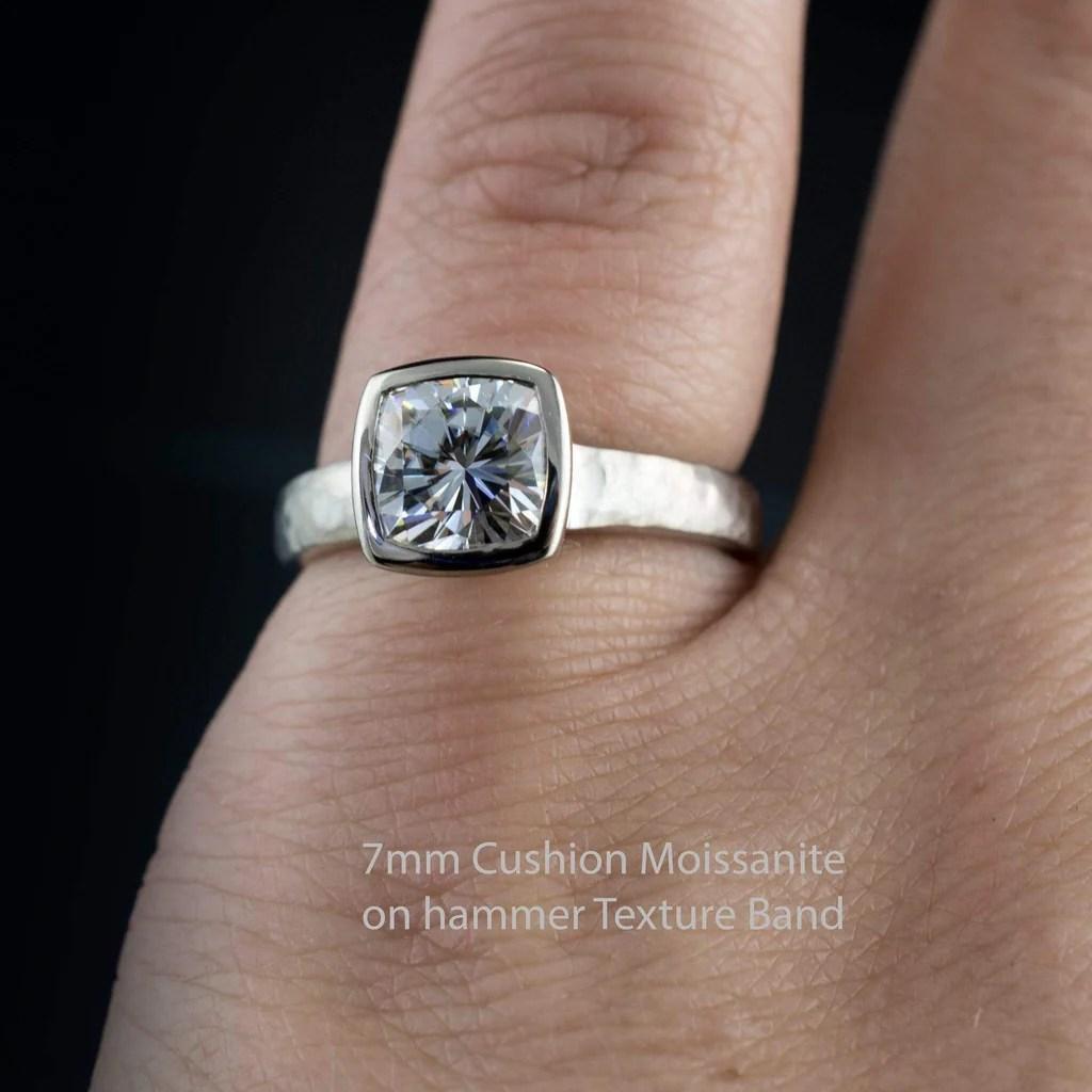 Cushion Moissanite Bezel Engagement Ring And Wedding Band