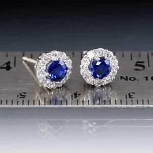 Chatham Created Blue Sapphire and Diamond Halo Stud Earrings