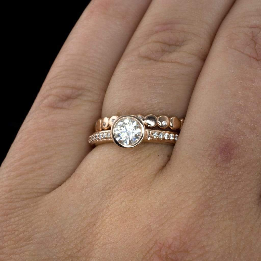 Moissanite Round Peekaboo Bezel Diamond Pave Engagement Ring