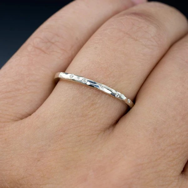 Thin White Sapphire Wedding Ring Skinny Hammered Texture
