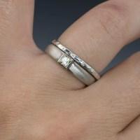 Thin Diamond Wedding Ring Skinny Hammered Texture Wedding Band