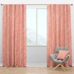 Living Coral Pink Mid Century Modern Curtain Panels Designq