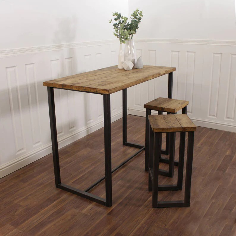 Breakfast Bar Kitchen Worktop Table Solid Wood Stool Set Industrial Re Shabby Bear Cottage
