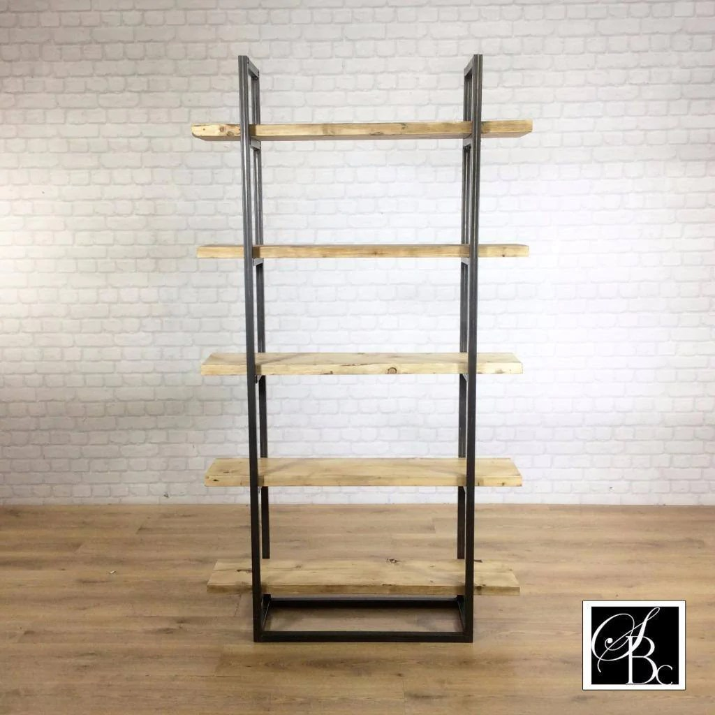 Industrial Retro Bookcase Unit Vintage Metal Reclaimed Solid