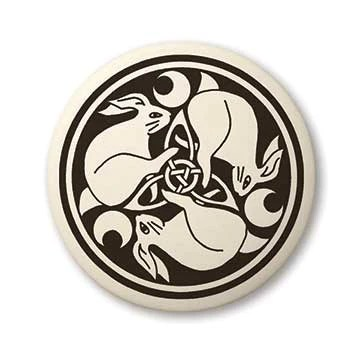 Celtic Bunny Rabbit Pendant Handcrafted Porcelain Round Hare Necklace  Lasa Fine Jewelry and