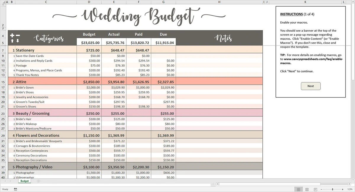 Peachy Wedding Budget