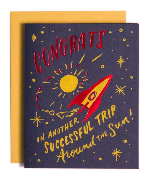 Trip Around The Sun Birthday Card Ladyfingers Letterpress
