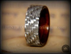 Bentwood Ring Silver Twill Carbon Fiber Rosewood Wood