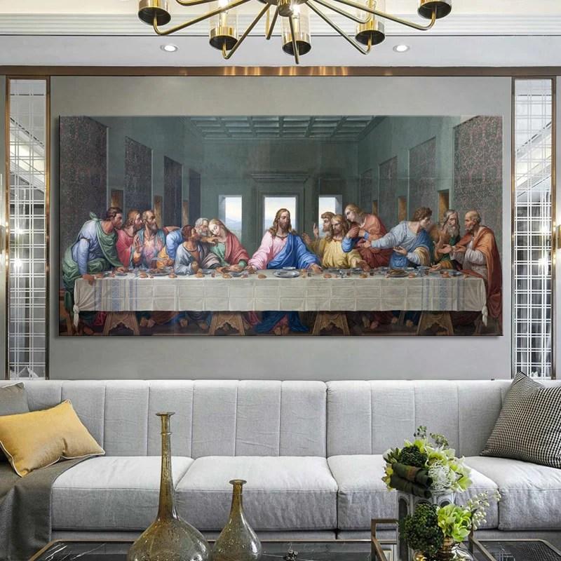 Famous Paintings Leonardo Da Vinci S The Last Supper Poster Fine Art Canvas Print Nordicwallart Com