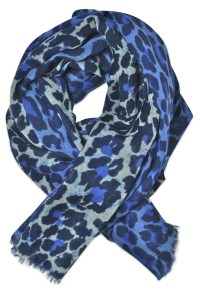 Blue leopard print scarf - Besos Scarves