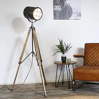 lampadaire projecteur industriel noir brosse