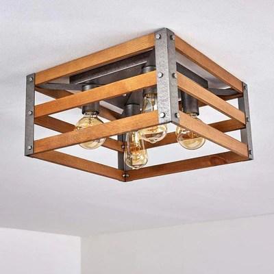 plafonnier industriel caisse en bois
