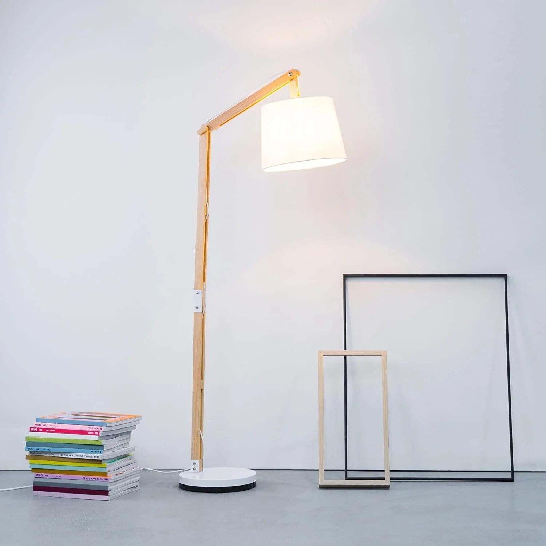 lampadaire salon industriel bois articule