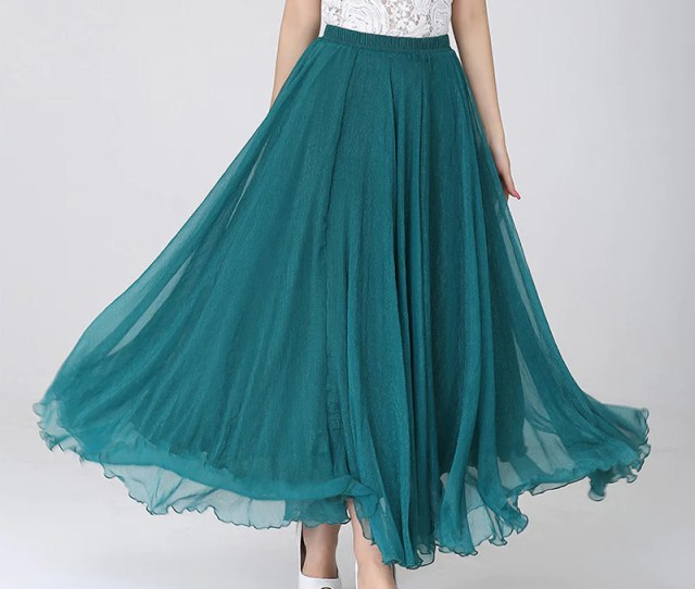 Teal Chiffon Maxi Skirt With Extra Wide Hem