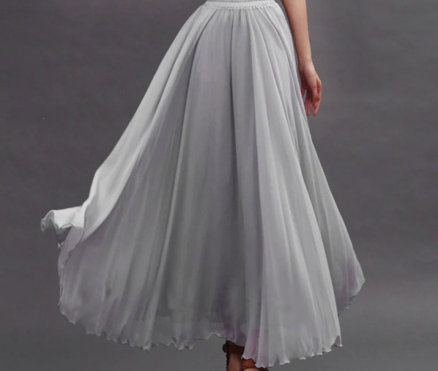 Light Gray Chiffon Maxi Skirt